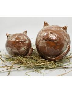 brązowe koty CERAMIKI WYJĄTKOWY ozdoba handmade rękodzieło prezent urodziny