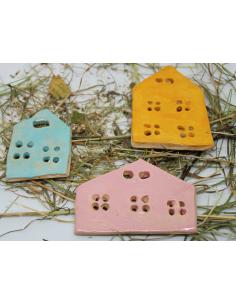 magnesy na lodówkę domki z  CERAMIKI WYJĄTKOWY ozdoba handmade rękodzieło prezent urodziny