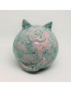 kot różowo niebieski CERAMIKI WYJĄTKOWY ozdoba handmade rękodzieło prezent urodziny