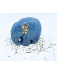 niebieski słonik ceramiki  ozdoba handmade rękodzieło prezent